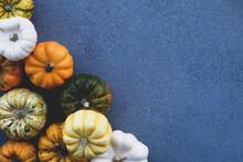 Colorful Mini Pumpkins Of Different Colors On Blue Gray Concrete Background.