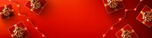 Red Background For Christmasor Happy New Year Promotion Poster Or Banner With Red Gift Box And LED String Lights For Retail,Shopping Or Christmas Promotion In Red Style.