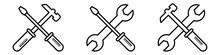 Outline Repair Service Toolkit. Maintenance Spanner And Hammer Silhouette Icons. Isolated Wrench And Screwdriver Symbols On White Background. Settings Pictogram. Vector EPS 10.