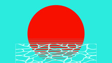 Retro Minimal Aesthetic Sunset And Beach Wave Ripples Illustration Background, Bright Two Tone Summer Vibe Flat Design