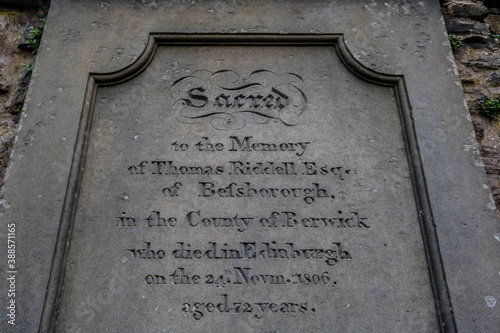 Thomas Riddell grave tombstone in Greyfriars Kirkyard, which was the inspiration for Tom Riddle's (Voldemort) character in Harry Potter Canvas Print