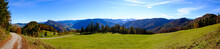 Panoramic View From Mountain Hohe Dirn To The Valley Of The River Enns Near Losenstein, Upper Austria