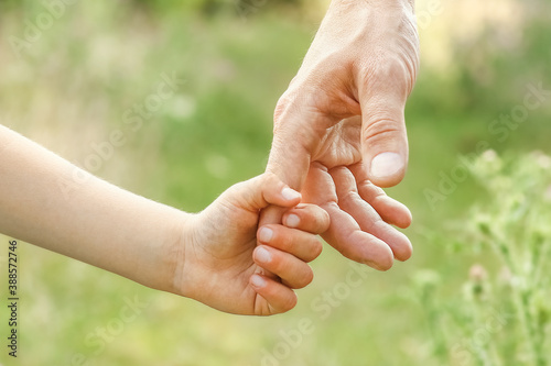 hands of parent and child in nature Fotobehang