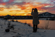 A Girl With A Camera Shoots A ...