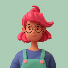 Casual Black Woman With Glasses, In Overalls, Blue T-shirt With Red Short Hair On A Green Background. Bright Portrait Of A Teenage Character. Young Woman Avatar In Minimal Art Style. 3d Illustration.