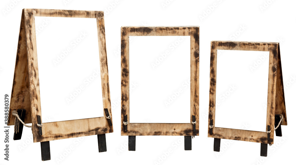 Fototapeta Wooden sign with white space for text. Stand isolated on a white background. Mockup for design.