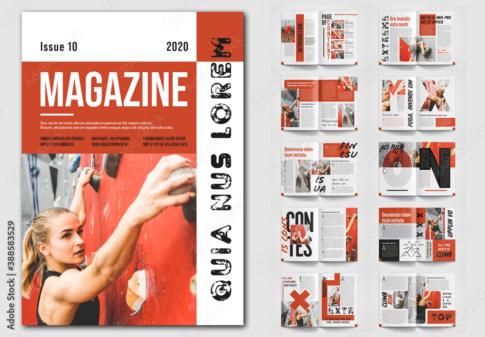 Fototapeta Magazine Layout with Red Accents
