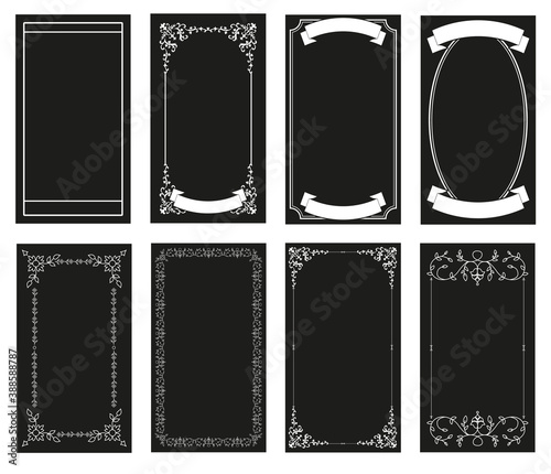 Foto Ornamental retro style frames, banners for text and blank space for tarot cards, invitations, weddings, celebrations