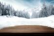 Leinwandbild Motiv Desk of free space and winter landscape