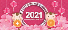 Chinese New Year 2021 Year Of The Ox Banner .