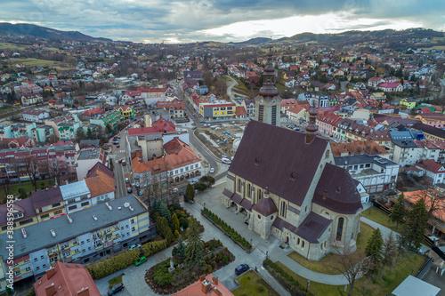 Obraz na plátne Limanowa, centrum miasta z lotu ptaka, malopolska