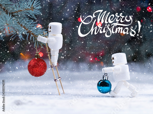 Fotografía Jolly cute marshmallow snowman decorate christmas tree by  red and blue christma