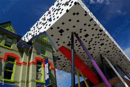 Naklejka premium Sharp Centre suspended over an arts supply store Toronto, Canada - September 1, 2006