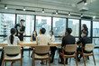 canvas print picture - Business people having a meeting in modern bright office interior brainstorming,Business concept.