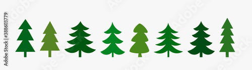 Tela Green Christmas trees icons collection.