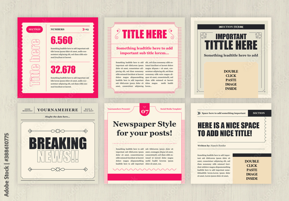 Fototapeta Square Newspaper Style Social Media Layouts