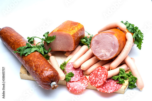Photo Meat allsorts on a round board
