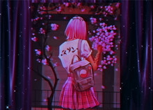 Anime Girl With Pink Hair, A Backpack And A Skirt On A Sakura Background.