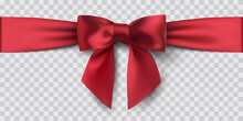 Red Satin Ribbon And Bow, Isol...