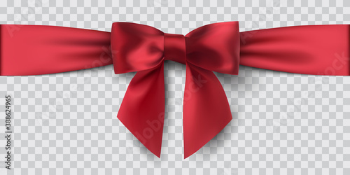 red satin ribbon and bow, isolated, vector illustration Canvas Print