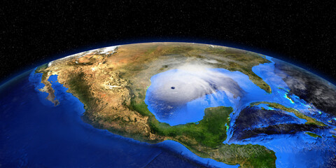 Hurricane Zeta shown from Space. Elements of this 3d rendering are furnished by NASA.