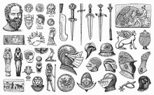 Antique Elements. Knightly Weapons And Armor. Egyptian Vases, Mummy And Sarcophagus. Ancient Statues And Swords. Museum Inventory. Hand Drawn Sketch. Engraved Old Vector Illustration.