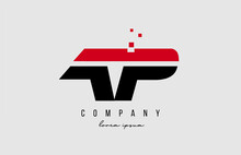 Ap A P Alphabet Letter Logo Combination In Red And Black Color. Creative Icon Design For Company And Business
