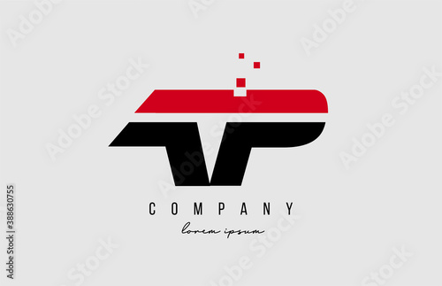 Tablou Canvas ap a p alphabet letter logo combination in red and black color