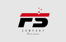 Fs F S Alphabet Letter Logo Combination In Red And Black Color. Creative Icon Design For Company And Business