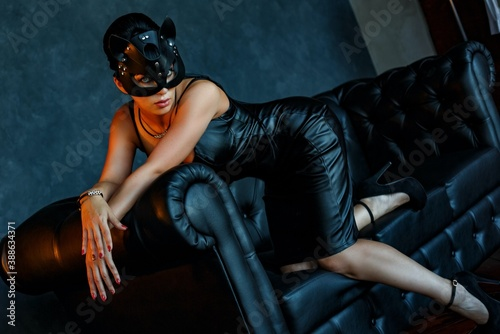 Mask girl, catwoman, bdsm, darkness, tongue, brunette Canvas Print