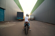 A Young Guy And A Powerful Sports Bike. Photo On The Street