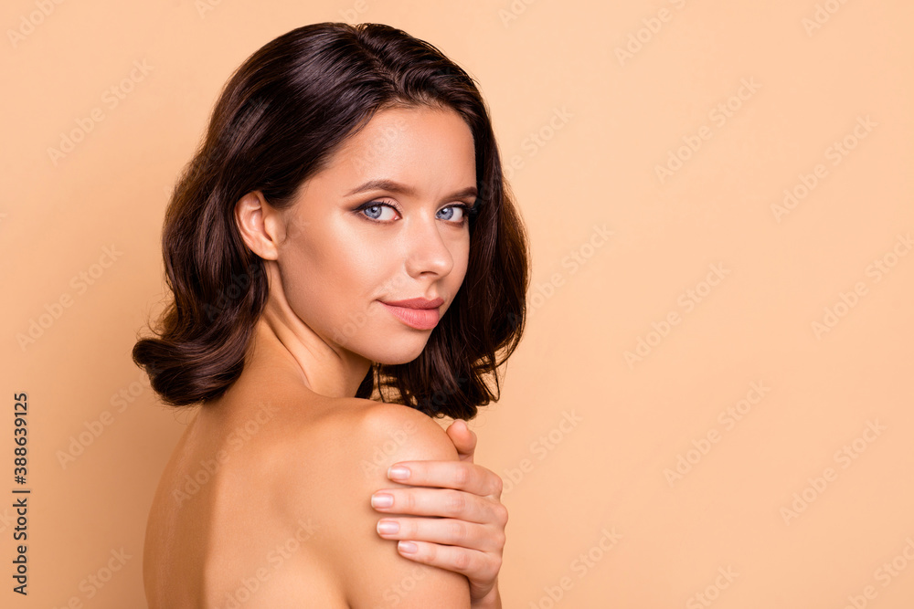 Fototapeta Close up side profile photo beautiful she her lady shiny body healthy soft silky ideal condition overjoyed freshness tender smearing cream shoulder wear no clothes isolated beige background