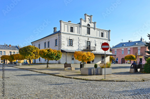 Obraz Views of a fragment of the market square in Dukla, Poland - fototapety do salonu