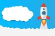 Rocket start up concept with clouds workspace vector design.