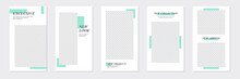 Set Of Rectangle Editable Minimal Layout Social Media Stories Template Pastel Green Color For Personal Or Business. Use This Layout For Web, Banner, Poster, Shop, Discount, Sale, Promotional Product.