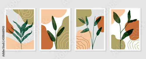 Fényképezés Luxury botanical golden Texture wall art vector set