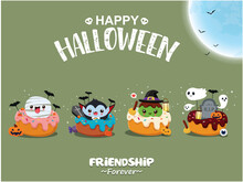 Vintage Halloween Poster Design With Vector Vampire, Witch, Mummy, Ghost, Cupcake Character.