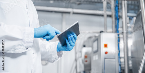 Fototapeta Man worker holding tablet computer checking production line dairy factory food industry. Copy space banner obraz