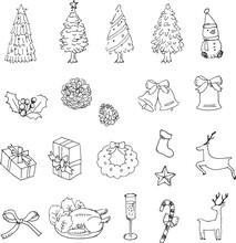 クリスマス 手書きのイラストセット