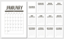 Vector Calendar For 2021 Year. Set Of 12 Months. Week Starts Sunday. Stationery Design For Printable.