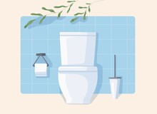 Clean Modern WC With White Ceramic Toilet Bowl, Paper And Brush. Front View Of Restroom With Green Plant Isolated On Beige Background. Water Closet With Blue Wall Tiles. Flat Vector Illustration