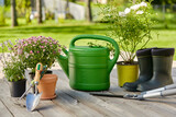 Fototapeta Kawa jest smaczna - gardening, farming and planting concept - garden tools, flower seedlings and rubber boots on wooden terrace in summer