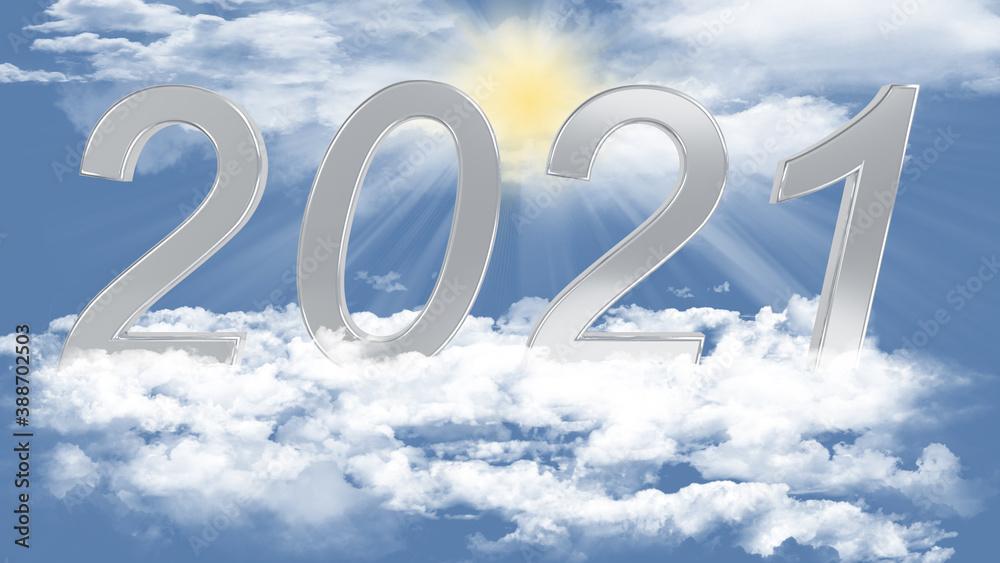 Fototapeta Illustrazione 3D. Anno nuovo 2021. Capodanno, 2021  in numeri, a celebrare l'arrivo del nuovo anno,  sospeso nel cielo tra le nuvole..