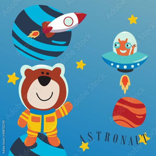 Cute little bear Astronaut in space wearing space suits with cartoon style Wallpaper Mural