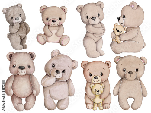 CSet of cute cartoon teddy bears. Watercolor hand drawn sketch, illustration, icon. Isolated on white background.  #388703111
