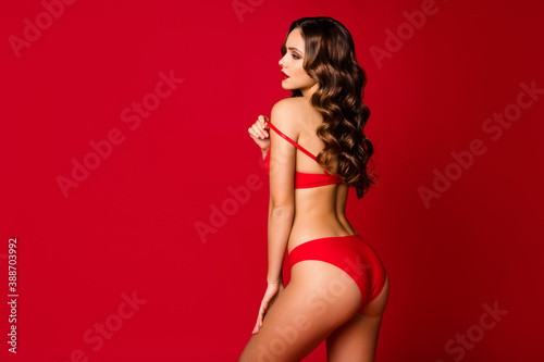 Obraz Profile rear behind view photo of seductive curly lady model wife girlfriend slim body shapes taking off lace bra tease x-mas date wear panties lingerie underwear isolated red color background - fototapety do salonu