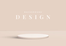 Minimalist Product Display Mockup Design, Podium On Bright Nude Brown Background