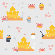 Seamless Pattern With Funny Crab And Sand Castle. Cute Kids Print. Vector Hand Drawn Illustration.