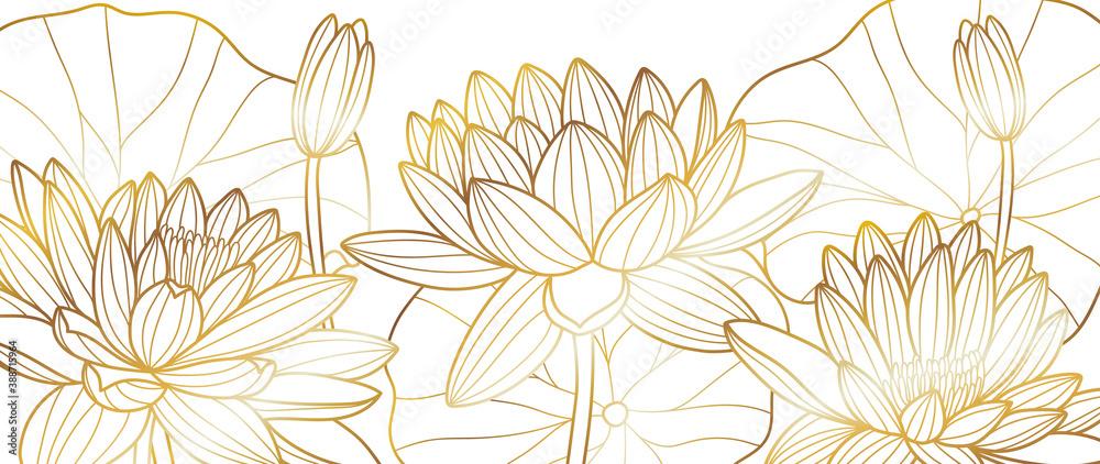 Fototapeta Golden lotus line arts on dark background, Luxury gold wallpaper design for prints, banner, fabric, poster, cover, digital arts vector illustration..