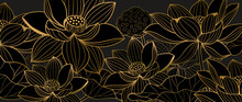 Golden Lotus Line Arts On Dark Background, Luxury Gold Wallpaper Design For Prints, Banner, Fabric, Poster, Cover, Digital Arts Vector Illustration..